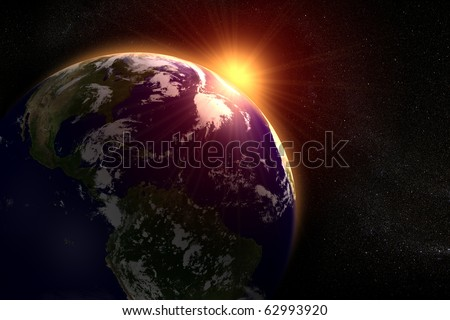 Space landscape of the sun rising behind the earth - stock photo