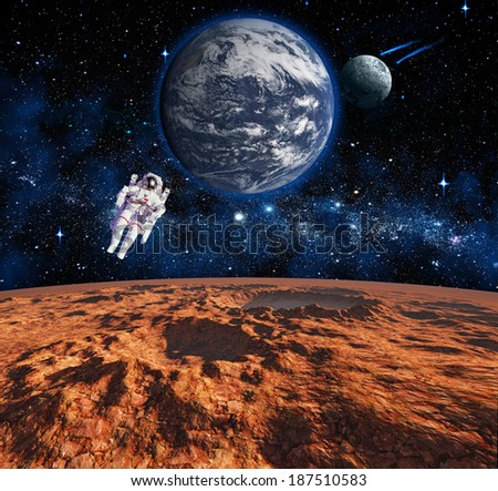 Space landscape. View from the Mars. Elements of this image furnished by NASA - stock photo