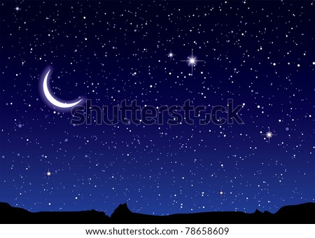 Space landscape with silhouette mountains and crescent moon - stock photo