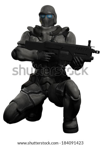 Space Marine Trooper Crouching. Futuristic sci-fi space marine trooper with heavy rifle crouching down, 3d digitally rendered illustration  - stock photo