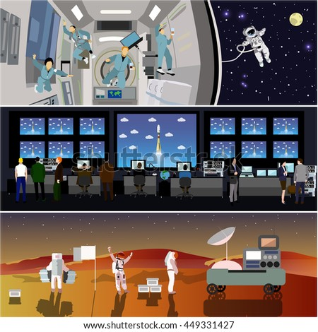 Space mission control center. Rocket launch illustration. Astronauts in space station and outer space. Landing to Mars landscape concept. - stock photo