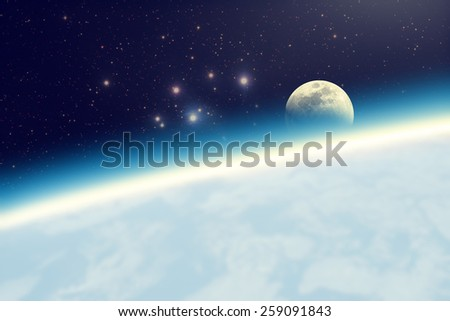 Space Moonrise. Elements of this image furnished by NASA. - stock photo