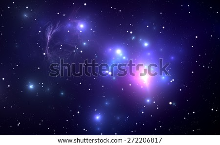 Space nebula with Supernova Explosion in the background - stock photo