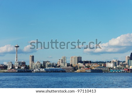 Space Needle and Skyline of Seattle, Washington - stock photo
