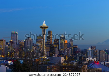 Space Needle at Dusk. Seattle, WA. December, 1-st 2014. Beautiful view on Space Needle opens from Kerry Park. - stock photo