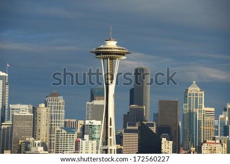 space needle in downtown seattle at afternoon - stock photo