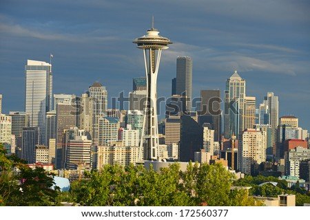 space needle with seattle downtown - stock photo