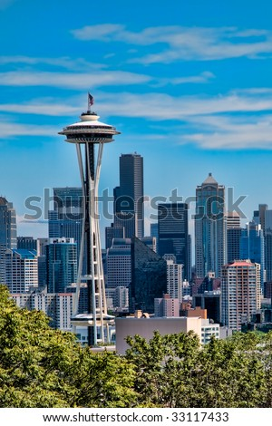 Space Needle with the city of Seattle in the background in abstract. - stock photo