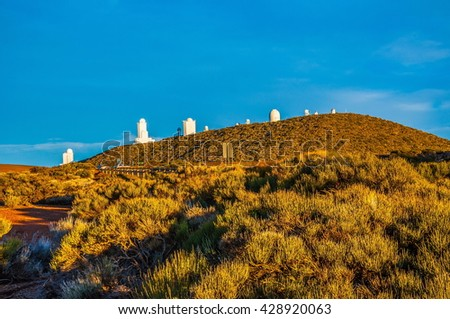 Space observatory on the mountain in Tenerife, Canary Islands. - stock photo
