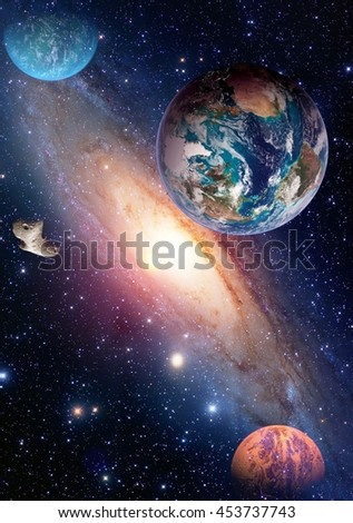 Space planet galaxy milky way Earth Mars universe astronomy solar system astrology. Elements of this image furnished by NASA. - stock photo
