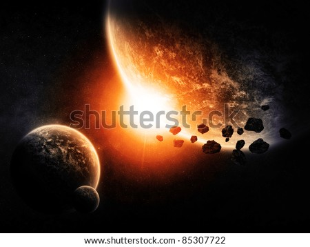 Space planets landscape - stock photo