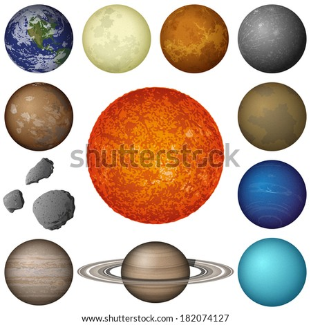 Space set of isolated planets and objects of Solar System: Sun, Earth, Moon, Venus, Mercury, Mars, Pluto, Phobos, Deimos, Gaspra, Neptune, Jupiter, Saturnand Uranus. Elements furnished by NASA - stock photo