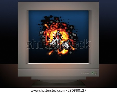 space ship on fire display on monitor screen game style - stock photo