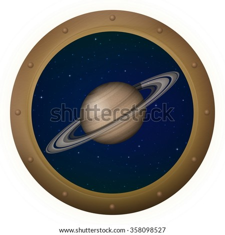 Space Ship Round Window Porthole with Planet Saturn and Stars, Isolated. Elements of this Image Furnished by NASA - stock photo