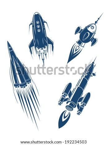 Space ships and spacecrafts set in cartoon style. Vector version also available in gallery - stock photo