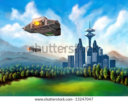 Space ships travelling to a futuristic city. Mixed media illustration. - stock photo