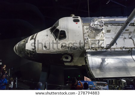Space Shuttle Atlantis at NASA's Kennedy Space Center CAPE CANAVERAL, FLORIDA November 1th, 2014.  Interior of NASA Kennedy Space Center, - stock photo