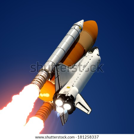 Space Shuttle. 3D Scene. - stock photo