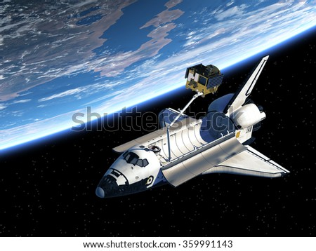 Space Shuttle Deploying Satellite In Space. 3D Scene. Elements of this image furnished by NASA.  - stock photo