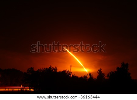 Space Shuttle Discovery night launch. - stock photo