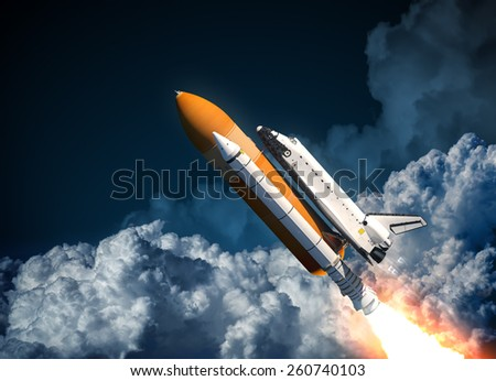 Space Shuttle Flying In The Clouds. 3D Scene. - stock photo