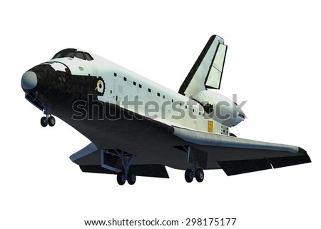 Space Shuttle Landing. 3D Model. - stock photo