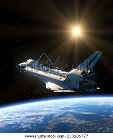 Space Shuttle Orbiting Earth. 3D Scene. Elements of this image furnished by NASA. - stock photo