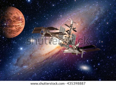 Space shuttle planet interstellar satellite international station Earth Mars. Elements of this image furnished by NASA. - stock photo