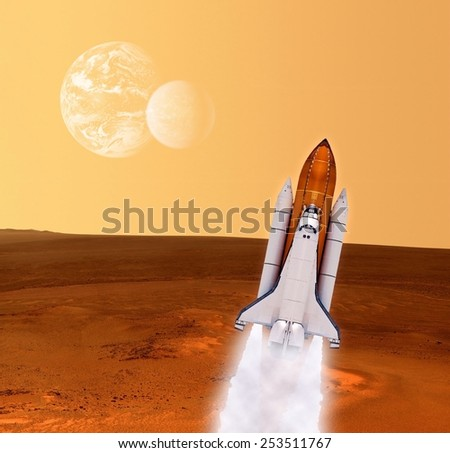Space shuttle rocket ship launch planet spaceship Mars. Elements of this image furnished by NASA. - stock photo