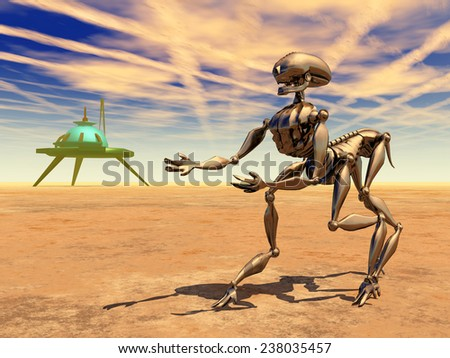 Space station and alien robot in a distant world Computer generated 3D illustration - stock photo