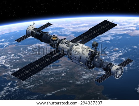 Space Station And Spacecrafts Orbiting Earth. 3D Scene. - stock photo