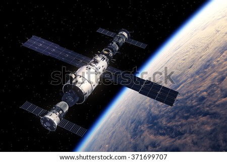 Space Station And Spaceships Orbiting Earth. 3D Scene.  - stock photo