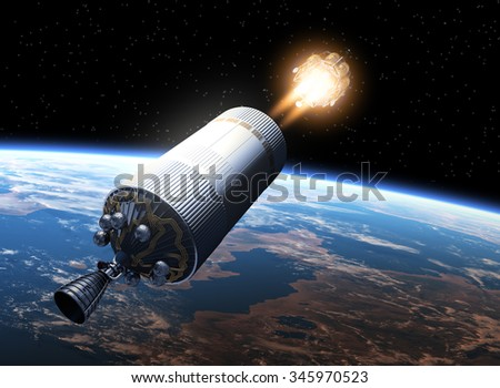 Space Station Launch Into Space. 3D Scene. - stock photo