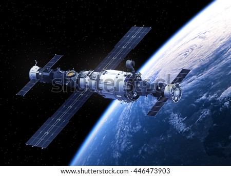 Space Station Orbiting Earth. 3D Illustration. - stock photo