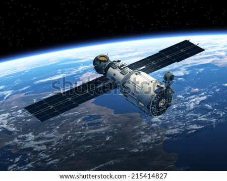 Space Station Orbiting Earth. 3D Scene. Elements of this image furnished by NASA.  - stock photo