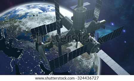 Space station with earth. 3D rendering - stock photo