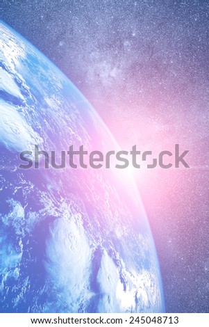 Space sunrise - Elements of this image furnished by NASA. - stock photo