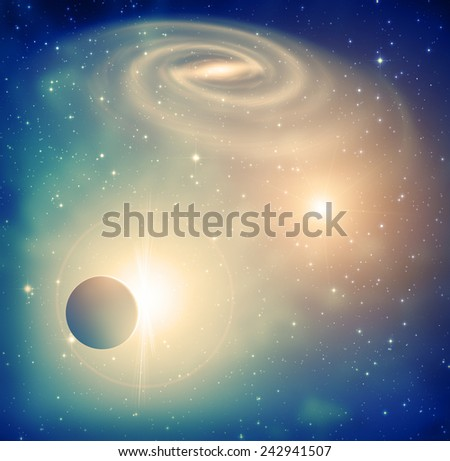 Space sunrise in a distant quasar galaxy. - stock photo