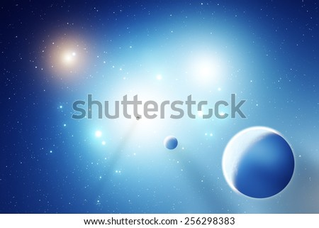 Space sunrise in a distant quasar galaxy. Digital illustration. - stock photo