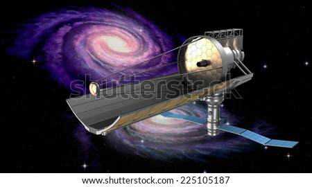 Space telescope in orbit. My own design. - stock photo