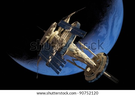 Space Transportation in the night sky. - stock photo
