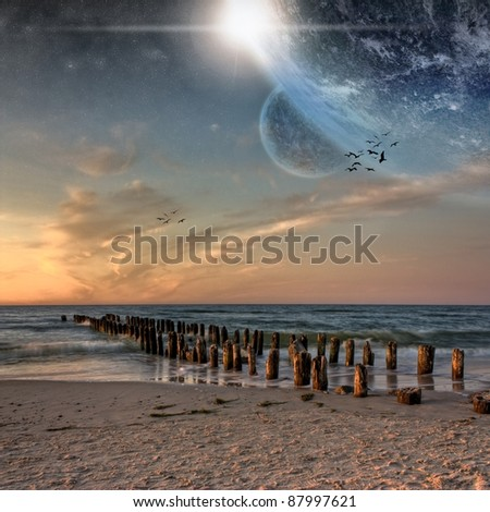 Space view from beautiful beach - stock photo