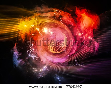 Space Vortex series. Background design of translucent vortex, fractal elements, lights and textures on the subject of science, technology and design - stock photo
