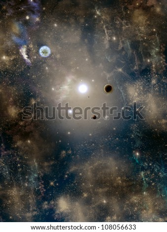 space with star-field planet  nebulous and fog - stock photo