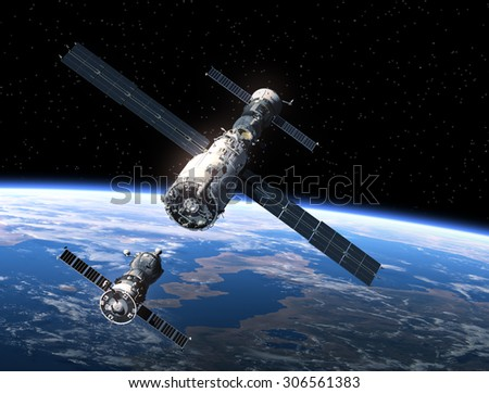Spacecraft And Space Station. 3D Scene. - stock photo