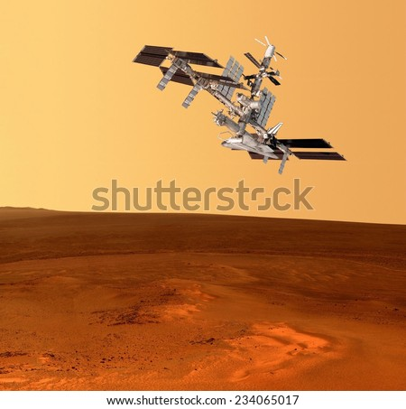 Spacecraft planet Mars spaceship satellite. Elements of this image furnished by NASA. - stock photo