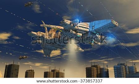 Spaceship alien UFO - stock photo