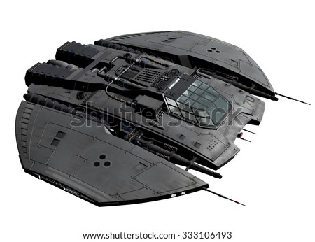 Spaceship - 3D rendered computer artwork - stock photo