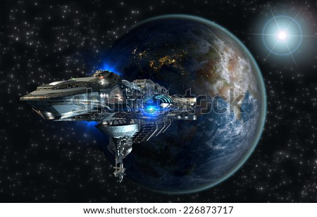 Spaceship fleet leaving Earth as a 3D concept for futuristic interstellar deep space travel for sci-fi backgrounds. Elements of this image furnished by NASA. - stock photo
