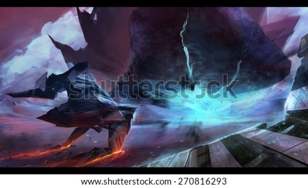 Spaceship neon hill. Fantasy futuristic spaceship flying with neon space planet hill explosion, motion view art illustration. - stock photo